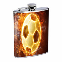 Soccer Ball Fire Em1 Flask 8oz Stainless Steel Hip Drinking Whiskey - $13.81