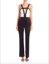 New ABS By Allen Schwartz Color blocked Evening Jumpsuit Black/White Sz ... - $29.09
