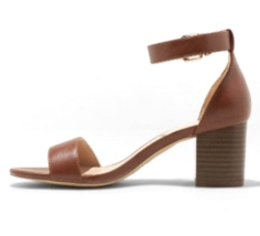 A New Day Faux Leather Brown Kianta Ankle Strap Mid Block Heels Open Toe Sandal image 2