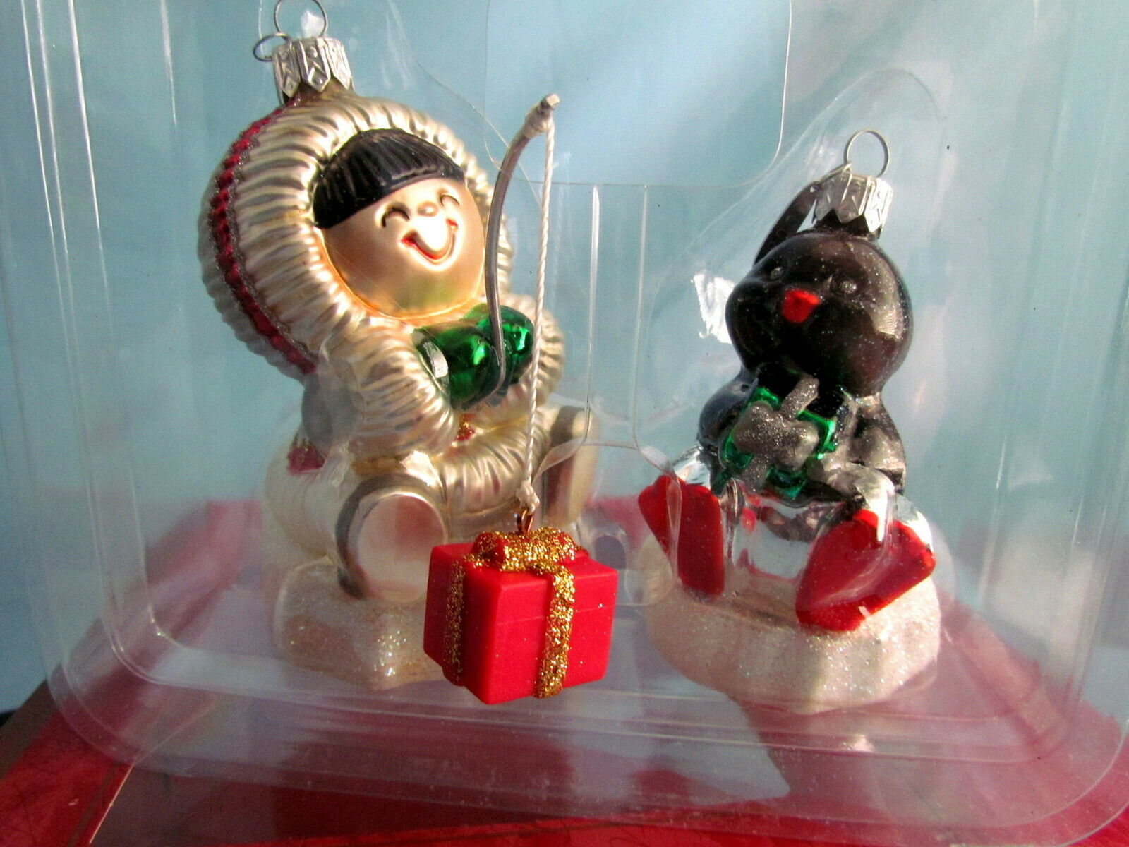 Two Frosty Friends Blown Glass Ornaments Hallmark Crown Reflections image 1