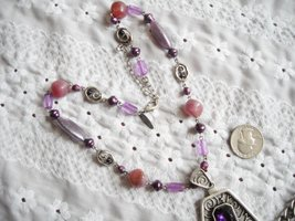 Vintage Necklace & Dangle Charm Bracelet Faux Stone & Pearl Purple Rhinestone image 5