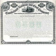 Cumberland Railway and Coal Co. 1886 30 year bond PROOF, Canada Bank Not... - $379.00