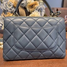 AUTH CHANEL TIFFANY BLUE QUILTED LAMBSKIN TRENDY CC 2 WAY HANDLE FLAP BAG GHW image 4