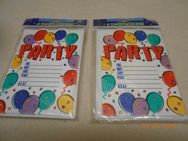 New sealed lot 2 packs of 8 Party invitations w/ 8 envelopes for all ages rsvp - $5.93