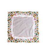 Daffodil Linen Handkerchief Bright Yellow White Pink Blooms Green Leaves... - $14.90