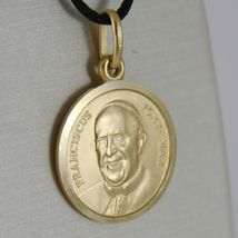 SOLID 18K YELLOW GOLD POPE FRANCIS FRANCESCO FRANCISCO 17 MM MEDAL MADE IN ITALY image 3