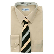 Berlioni Italy Toddlers Kids Boys Long Sleeve Dress Shirt Set With Tie Size 8