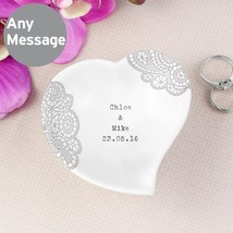 Personalised Dainty Lace Ceramic Ring Dish - $20.00