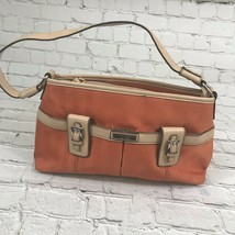 Etienne Aigner  Orange/Tan Satchel Handbag Magnetic Snaps Zipper 8 Pocke... - $15.72