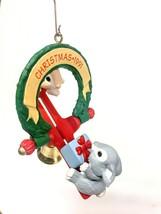 VTG 1991 Hallmark Christmas Ornament Bunny Rabbit Teeter Totter Seesaw F... - $12.99