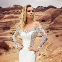 Long Sleeve Victorian Lace Corset Mermaid Trumpet Luxury Wedding Dress With Remo image 6