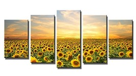 Wieco Art Sunflowers Canvas Prints Wall Art Landscape Pictures Paintings Ready t