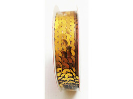 """Christmas House Gold Sequin Ribbon, 1/4"""" x 5 Yards"""