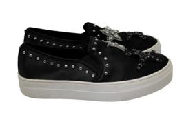 STEVE MADDEN Pluto Womens Embellished Black Satin Slip On Sneakers Size ... - $65.44