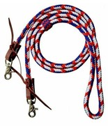Western Saddle Horse 8' Braided Nylon Red White Blue Barrel Racing Conte... - $14.65