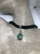 Vintage Green Raw Emerald Citrine Choker Pendant Necklace - $76.45