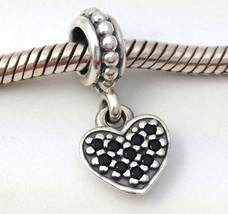 Authentic Pandora Sterling Silver Pave Heart Black CZ Charm 791023CZK New - $38.94