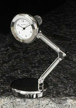 Bey- Berk Small Lamp Desk Clock Silver Finish - $15.95