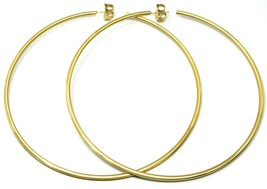925 STERLING SILVER CIRCLE HOOPS BIG EARRINGS, 11cm x 2mm YELLOW SATIN FINISH image 2