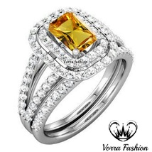 Rectangular Shape Yellow Sapphire Bridal Ring Set White Gold Plated 925 ... - $106.99