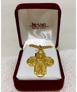 """18K Gold over Sterling Silver Four-Way Cross & 24"""" Chain--Laura Ingraham... - $79.99"""