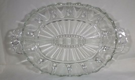 """Depression Divided Dish - Oyster & Pearl Clear Glass 11.75"""" Long Vintage  - $8.42"""