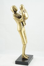 Vintage Brass Figurine On Stone Base Business Woman Mother and Child Tod... - $96.27
