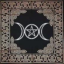 Altar Tarot Cloth: Triple Goddess With Pentagram - 24 X 24 (Gold/Silver On - $21.52