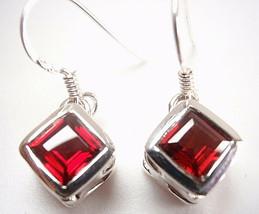 Faceted Garnet Square Earrings 925 Sterling Silver Dangle Corona Sun Jewelry - $13.85