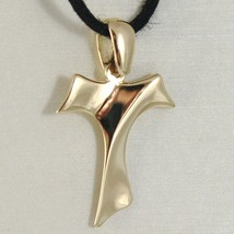 18K YELLOW GOLD CROSS, FRANCISCAN TAU TAO, SAINT FRANCIS, WAVE CURVED, 0... - $179.00