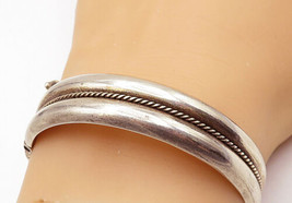 925 Sterling Silver - Vintage Rope Twist Detail Round Bangle Bracelet - ... - $72.15