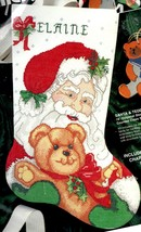 Bucilla Santa & Teddy Bear Christmas Eve Holiday Cross Stitch Stocking K... - $39.95