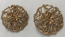 Vintage Napier Gold Tone Wreath Clip On Earrings - $6.33