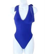 J Crew Shoulder-Tie One-Piece Swimsuit Bathing Suit G0445 6 Blue - $41.39