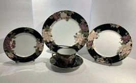 Fitz and Floyd Cloisonné Peony Black China 5 Piece Place Setting - $55.00