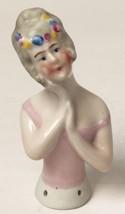 Vintage Half Doll for Pin Cushion Porcelain Pink Lady w Floral Head Garl... - $39.95
