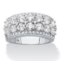 2.53 TCW Cubic Zirconia .925 Sterling Silver Multi Row Cluster Ring - $49.49