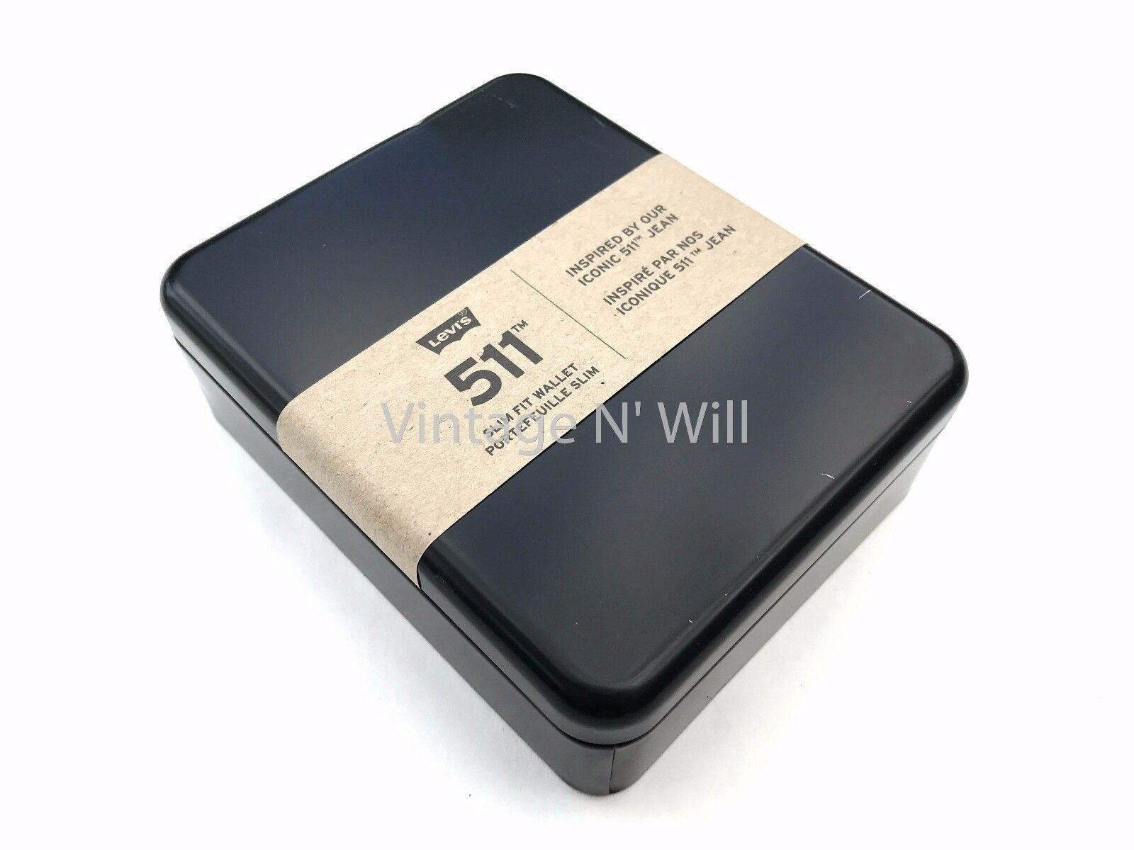 Levis Jeans Mens 511 Slim Navy Blue Genuine Leather Wallet Billfold Bifold Card image 7