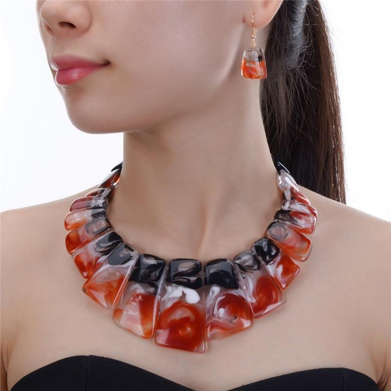 Y 4 colors bridal wedding fashion african beads jewelry set resin beads choker necklace earrings