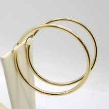 18K YELLOW GOLD ROUND CIRCLE EARRINGS DIAMETER 50 MM, WIDTH 3 MM, MADE IN ITALY image 2