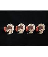 Turkey Napkin Rings Holders, Set of 4 Resin Thanksgiving Table Decor  - $8.00