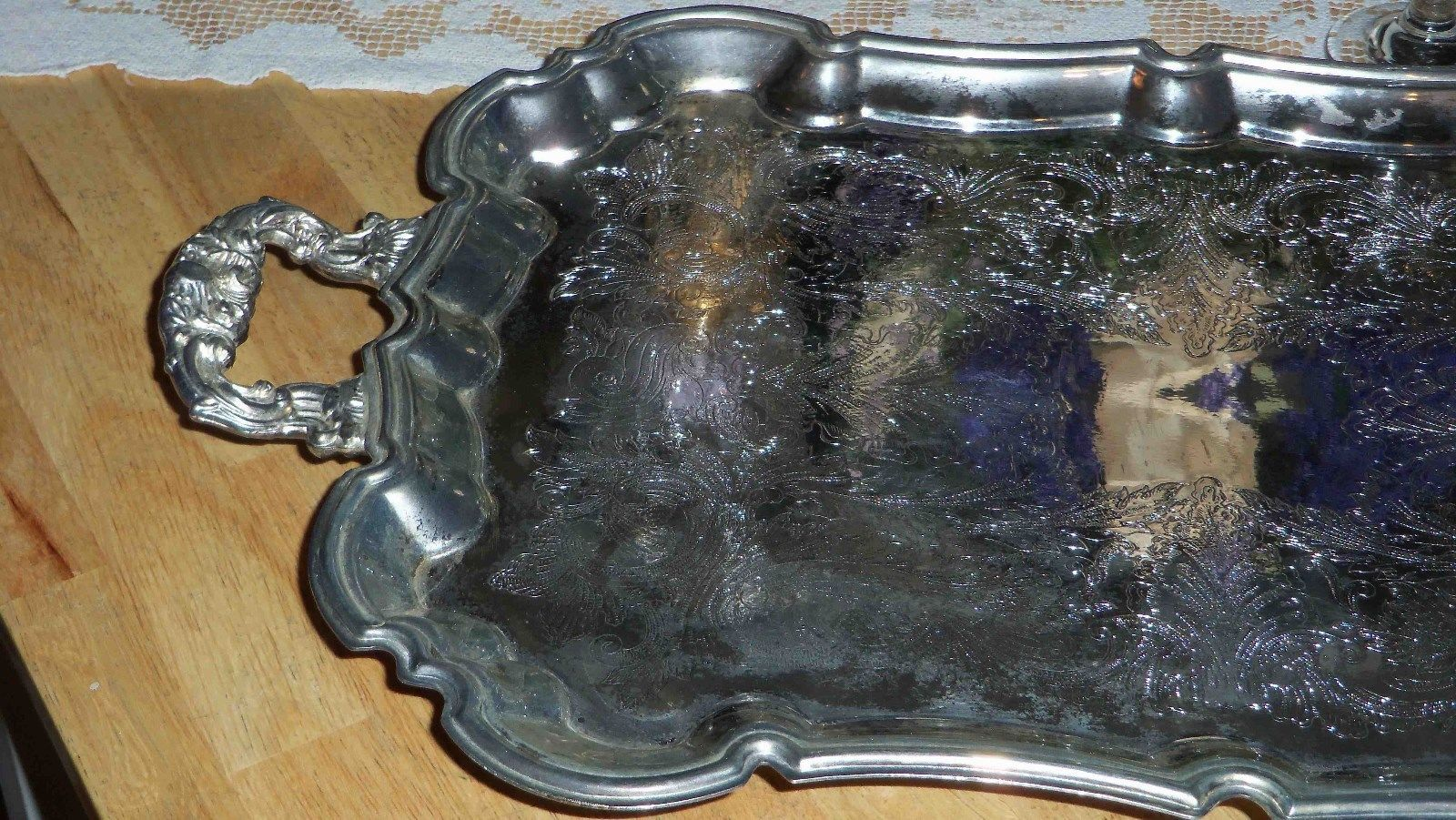 International Silver Co Footed Scalloped Edge Ornate Engraved Silver Plate Tray