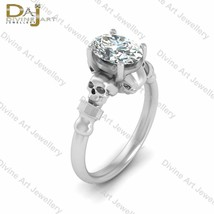 Oval Cut Nearly White Moissanite Skull Goth Womens Wedding Ring Solid 92... - £297.66 GBP