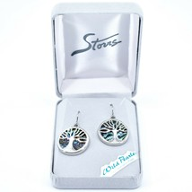 A.T. Storrs Wild Pearle Abalone Shell Tree of Life Hook Earrings