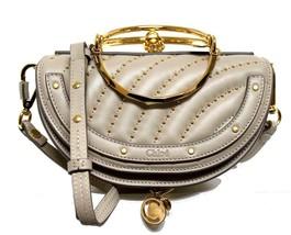 New $2K Chloe Nile Grey Studs Leather Half Moon Minauderie Clutch Crossb... - $1,566.04