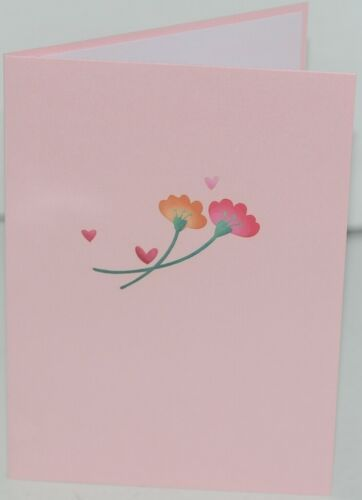 Lovepop LP2318 Floral Love Pink Pop Up Card White Envelope Cellophane Wrapped