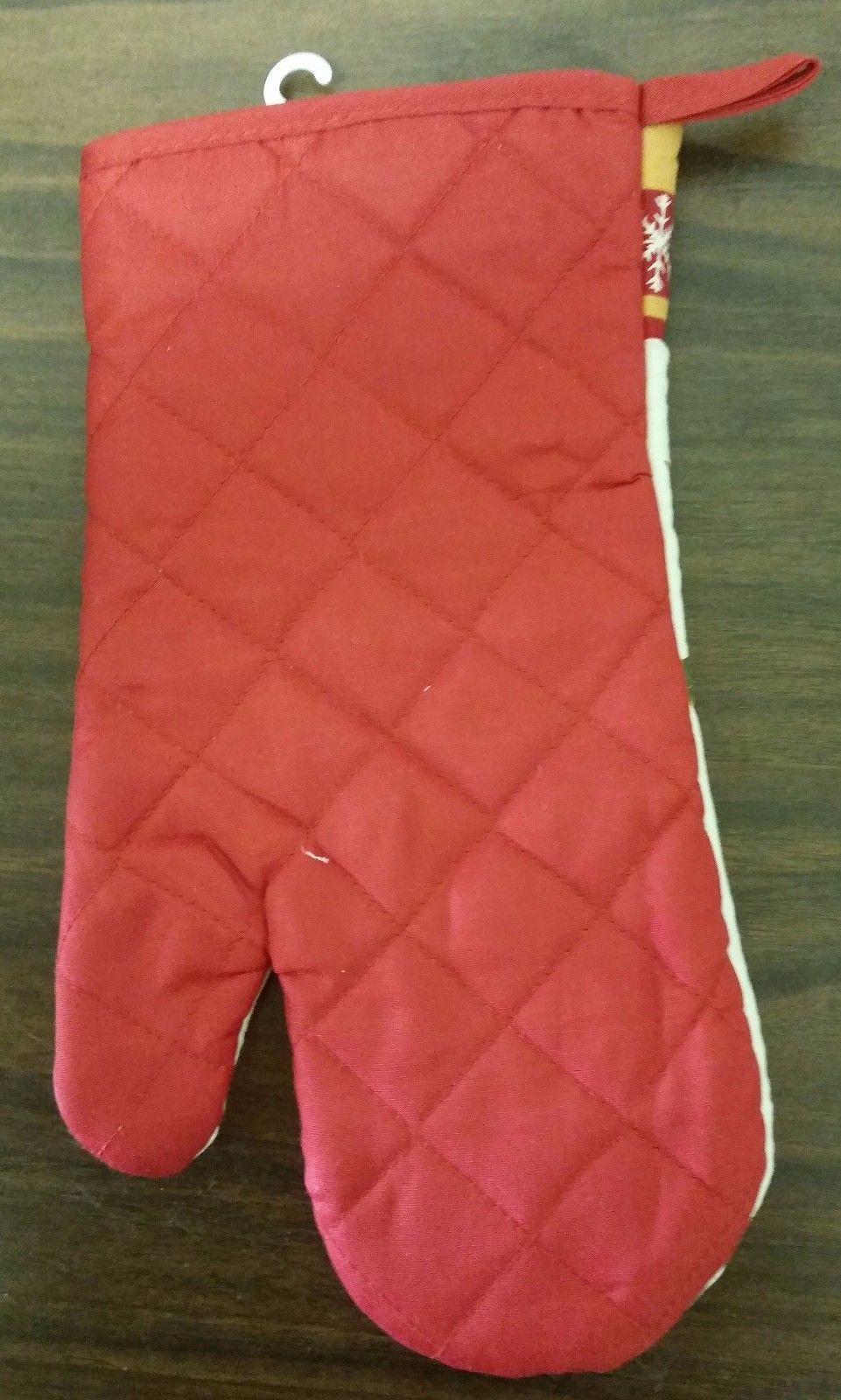 """Printed Kitchen 13"""" Large Oven Mitt, RED FLOWERS by BH"""