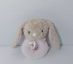 Dandee Tan Bunny Baby Pink round ring rattle dot bow satin ears - $5.93