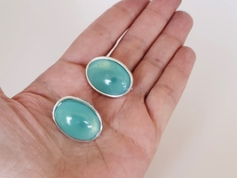 Blue-Green and Silver Colored Oval Earrings, Vintage Chunky Jewelry - $9.95