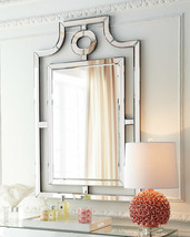 Chippendale Asian Pagoda Wall Mirror Frameless Beveled Hollywood Regency Horchow - $290.94